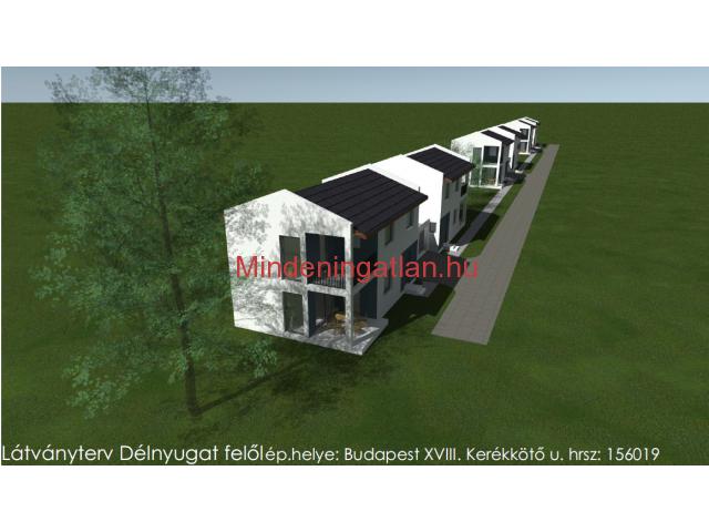 Budapest XVIII. ker. Ganz Kertvárosban csak garázzsal kapcsolatos 145 m2-es ikerház eladó